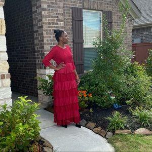 Red Ruffled Maxi Dress